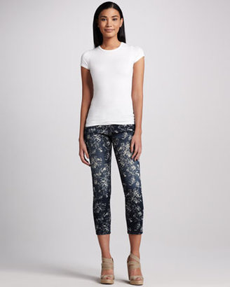 Liverpool Abby-Skinny Garden-Print Cropped Jeans