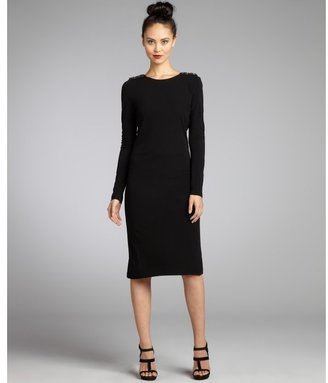 Badgley Mischka black stretch jersey knit embellished shoulder cowl back long sleeve dress