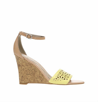 Adelina Perforated Cutout Wedge Sandals