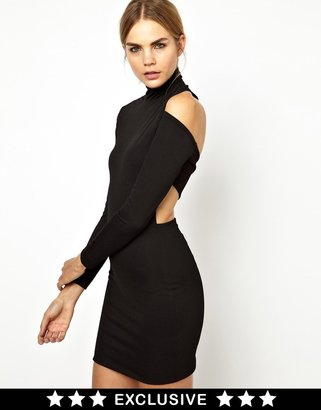 Solace London Cairn Wrapped High Neck Dress with Cut Out