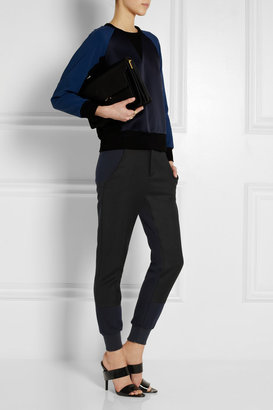Maison Martin Margiela Paneled wool-piqué and jersey tapered pants