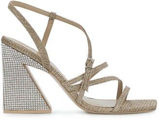 Mercedes Castillo Kelise 100 Crystal-embellished Metallic Sandals