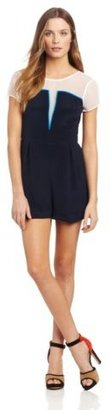 Charlotte Ronson Women's Tri-Color Block Silk Sheer Yoke Romper