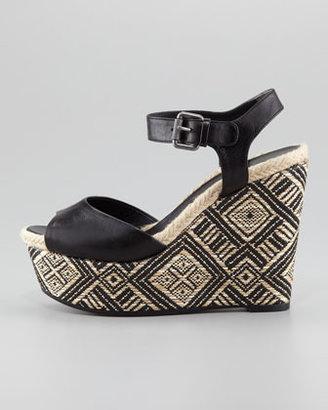 Vera Wang Malina Basket-Weave Wedge Sandal, Black/Natural