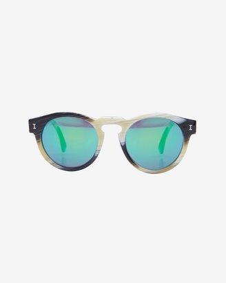 Illesteva Leonard Ii Green Mirrored Lenses Horn Sunglasses