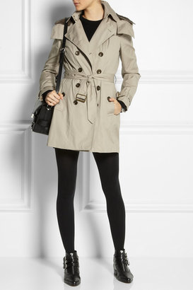 Burberry Mid-length hooded cotton trench coat