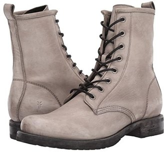 Frye Veronica Combat (Grey Waxed Full Grain) Women's Lace-up Boots