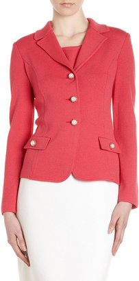 St. John Jewel-Button Knit Jacket, Lipstick Pink