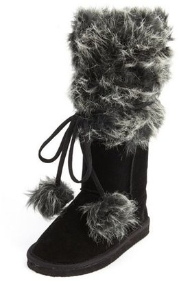 Charlotte Russe Wrapped Fur-Cuff Sueded Boot