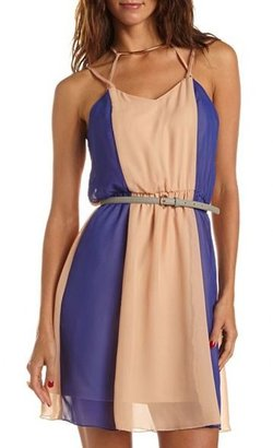 Charlotte Russe Belted Strappy Color Block Dress