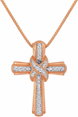 Silver Cross Fine Jewelry 1/10 CT. T.W. Diamond 14K Rose Gold Over Sterling Pendant Necklace