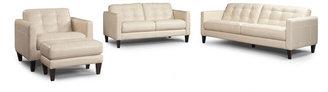 Milan 4-Piece Leather Sofa Set: Sofa, Love Seat, Chair and Ottoman