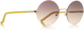 The Row Round-frame metal and leather sunglasses