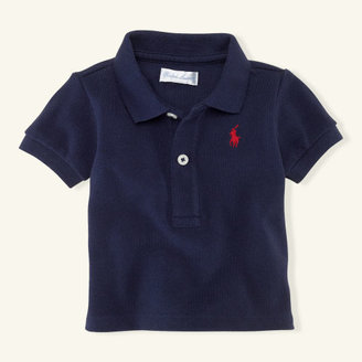 Short-Sleeved Cotton Mesh Polo