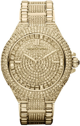 Michael Kors Women's Camille Crystal-Covered Gold-Tone Stainless Steel Bracelet Watch 44mm MK5720