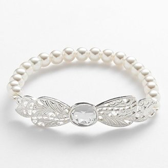 Lauren Conrad silver tone simulated pearl & simulated crystal bow stretch bracelet