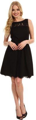 Jessica Simpson Sleeveless Scoop Back Dress w/ Lace Contrast (Black) - Apparel