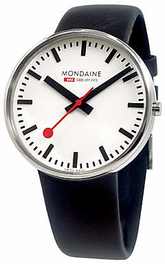 Mondaine A6603032811SBB Unisex Evo Giant Leather Strap Watch, Black/White