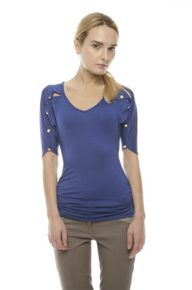 Mitto Royal Blue Top With Buttons