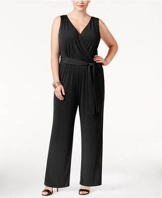 NY Collection Plus Size Sleeveless Belted Jumpsuit $70 thestylecure.com
