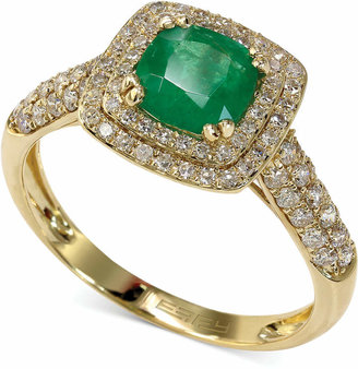 Effy Emerald Envy by Emerald (7/8 ct. t.w.) and Diamond (1/2 ct. t.w.) Cushion Ring in 14k Gold
