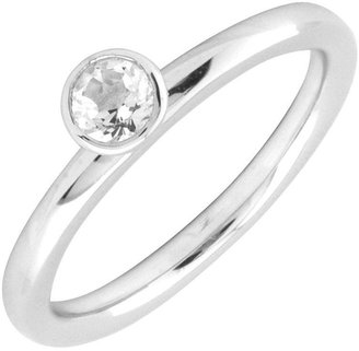 Simply Stacks Sterling 4mm White Topaz Sol. Stackable Ring