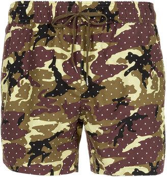 Topman Camouflage And Spot Swim Shorts