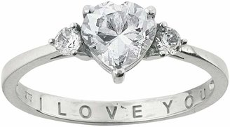 Moon & Back Sterling Silver Cubic Zirconia 'I Love You' Ring