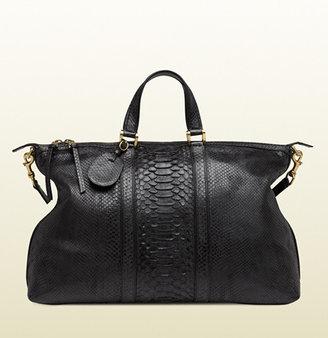 Gucci Black Python Top Handle Duffel Bag