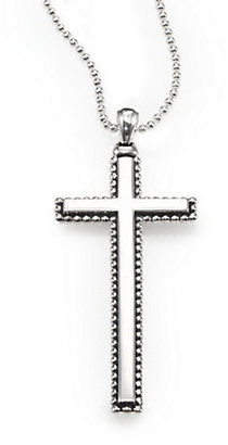 Lagos Sterling Silver Caviar-Beaded Cross Necklace