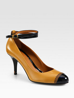 Fendi Persuasion Leather and Patent Leather Ankle Strap Pumps