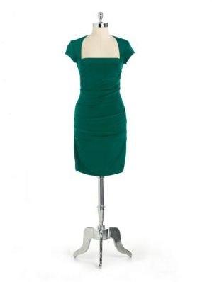 Nicole Miller Cap-Sleeved Draped Dress