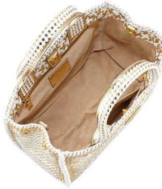 Prada Two-Tone Madras Small Tote Bag, Gold/White