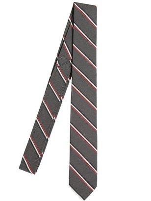 Thom Browne 6cm Silk And Cotton Striped Twill Tie