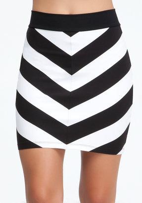 Bebe Mitered Stripe Skirt