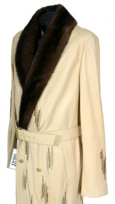 Versace excellent (EX) Gianni Leather Men's Coat with Mink Fur Collar, Crystals & Chain-Mail