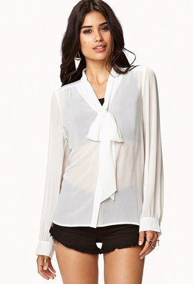 Forever 21 Tie Collar Button Up