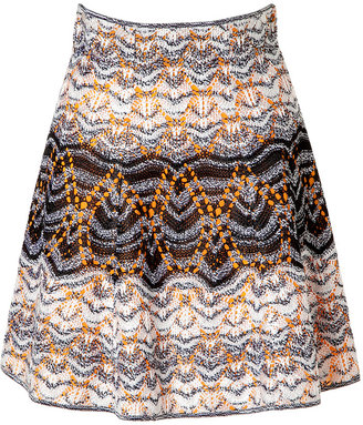 Missoni Black/White Variegated Knit Skirt with Orange Lining