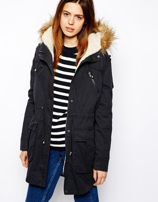 Asos Faux Fur Hooded Detachable Lined Parka - Navy