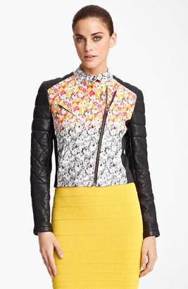 Yigal Azrou?l Leather & Floral Ikat Print Jacket