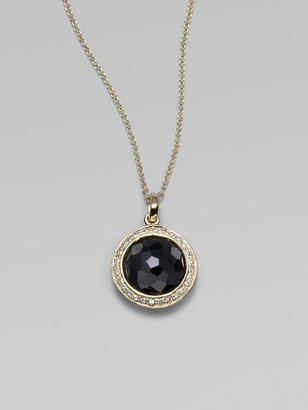 Ippolita Lollipop Black Onyx, Diamond & 18K Yellow Gold Mini Pendant Necklace