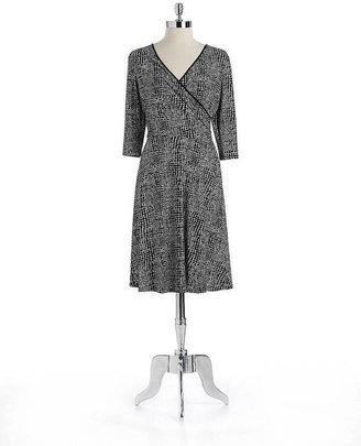 Jones New York Printed Faux Wrap Dress