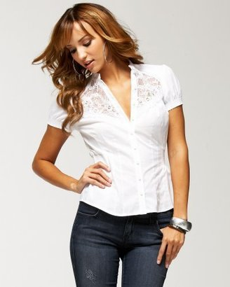 Bebe Lace Inset Button Down Top