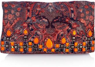 Matthew Williamson Embellished brocade and suede clutch