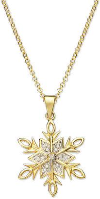 Townsend Victoria 18k Gold over Sterling Silver Necklace, Diamond Accent Snowflake Pendant