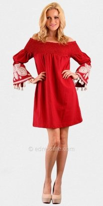 VAVA by Joy Han Selly Off Shoulder Long Embroidered Sleeve Casual Dresses from