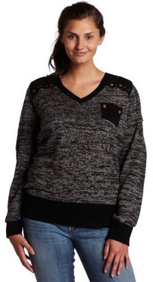 Southpole Juniors Plus Size V-Neck Long Sleeve Sweater with Stud Details and Arm Patch
