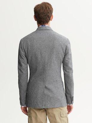 Banana Republic Tailored-Fit Grey Cotton Two-Button Blazer