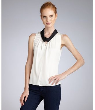 Elie Tahari crème stretch georgette 'Carolena' contrast trim blouse