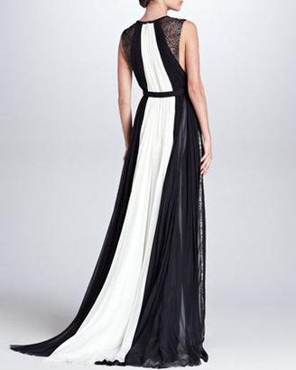 J. Mendel Colorblock Keyhole Ball Gown, Ivory/Black
